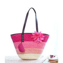 Large Colorful Striped Straw Beach Tote Paper Straw Basket With Small Pocket