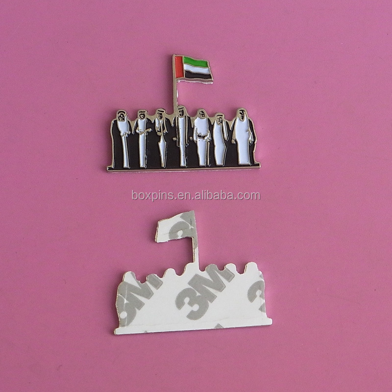 uae 43 national day flag badge metal soft enamel self adhesive label
