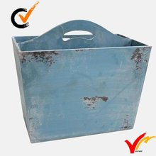 recycled wooden garden newspaper basket in blue