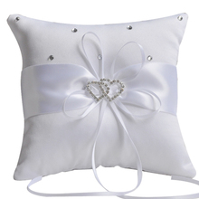 2015 heart shaped brooch wedding ring pillows ivory or white satin wedding bridal ring pillows square pillow ring