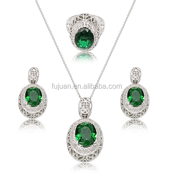 Fashion new 3 piece platinum plated hotsale european zircon jewelry set