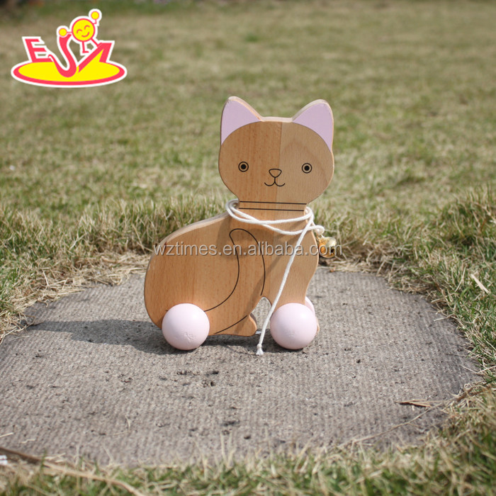 2017 wholesale kids wooden cat toy car funny baby wooden cat toy car high quality children wooden cat toy car W05B140