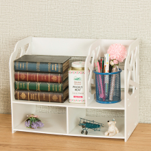 Alibaba China wooden desktop book rack bookcase with study table set white wood bookcase