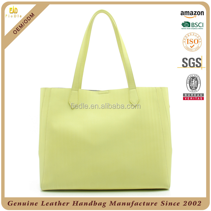 CSYH391-001 2016 New Design Promotional Fashion Custom tote bag yellow color genuine leather Handbag For women