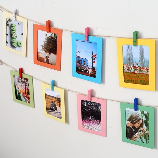 Colorful DIY Photo Frames Wall Hanging Cute Paper Photo Frame With Rope