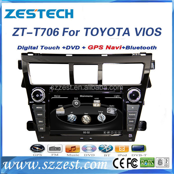 Shenzhen dvd auto part touch screen car stereo with usb port for toyota vios belta car accessories with DVD/RADIO/GPS/3G