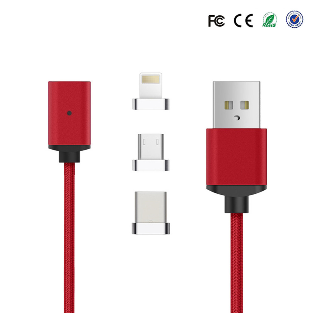 3 in 1 Magnet Type C Cables magnetic Mobile Phone charging cable android Charger Micro USB Data nylon tie