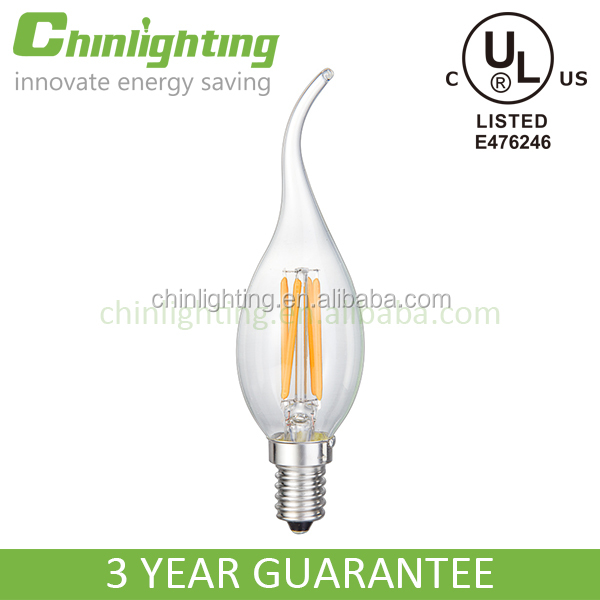 CE RoHS UL energy saving environmental protection filament led candle light bulb