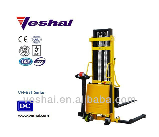 1ton 1.6m small battery stacker VH-BST electric forklift with straddle legs
