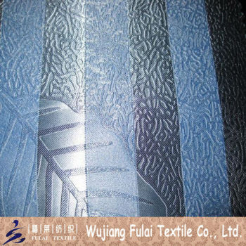 Bright Dull Embossed Polyester Blackout Stripe Curtain Fabric