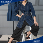 Women Women'S Korean Style Medium Length Denim Jacket Jeans Coat