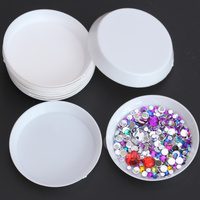 Good quality Crystal Stone plastic jewelry box with 6cm round shape plastic box for nails
