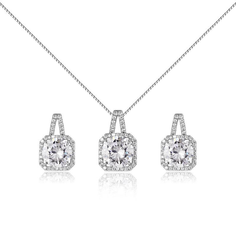White Platinum Plated Crystal Square Shaped Pendant Box Chain Necklace Earrings Set Women Fashion Jewelry