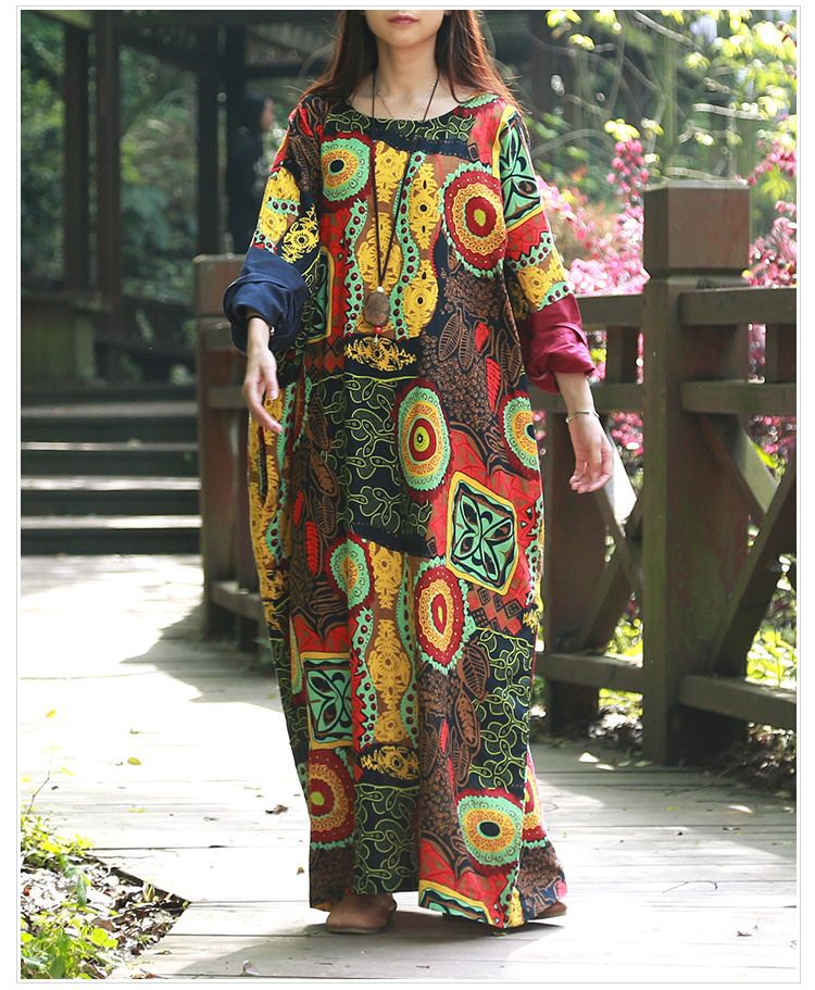 Wholesale Spring Women Dress O-neck Abstract Printing Cotton Linen Ethnic Robe Batwing Sleeve Arabic Long Kaftan Dress