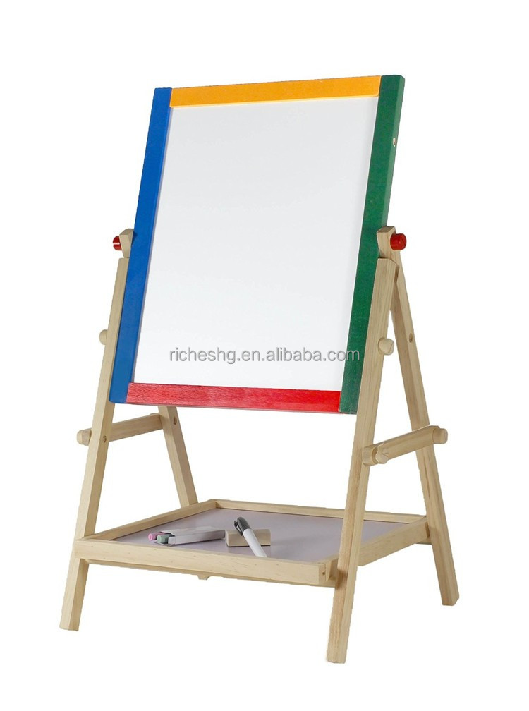 wooden foldable kids drawing rotating easel stand, child artist easel,adjustable easel