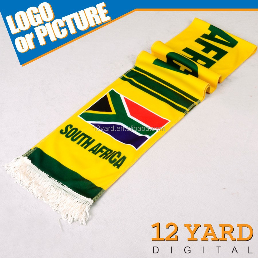 Promotional south africa soccer knitted scarf/ winter polar fleece scarf/ nylon cool scarf