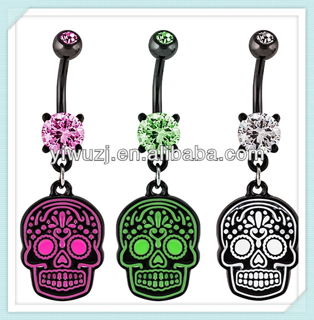 Neon Mayan Sugar Skull Black-Plated Belly Ring Supplier Body Jewelrys