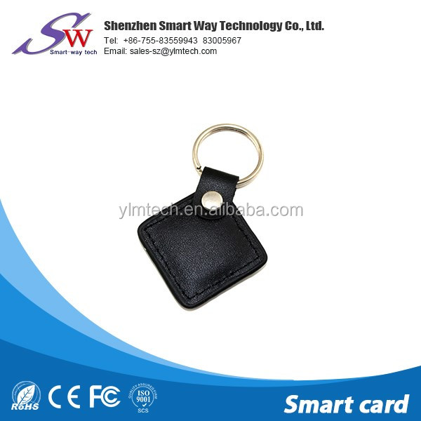 business customized leather rfid keychain ntag216 for login in