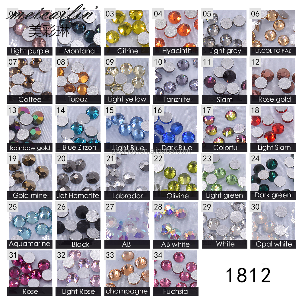 1440pcs Mixed 6 Sizes SS3-10 Glass Flatback Crystal 3D Gems Decorations
