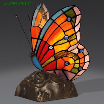 Latest Tiffany Style Stained Glass Table Lamp Butterfly Design Night Light