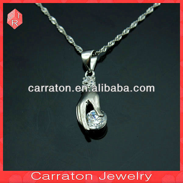 925 sterling silver large single stone charms pendant,hand shape pendant