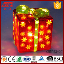 Table decoration led lighted glass gift box ornaments
