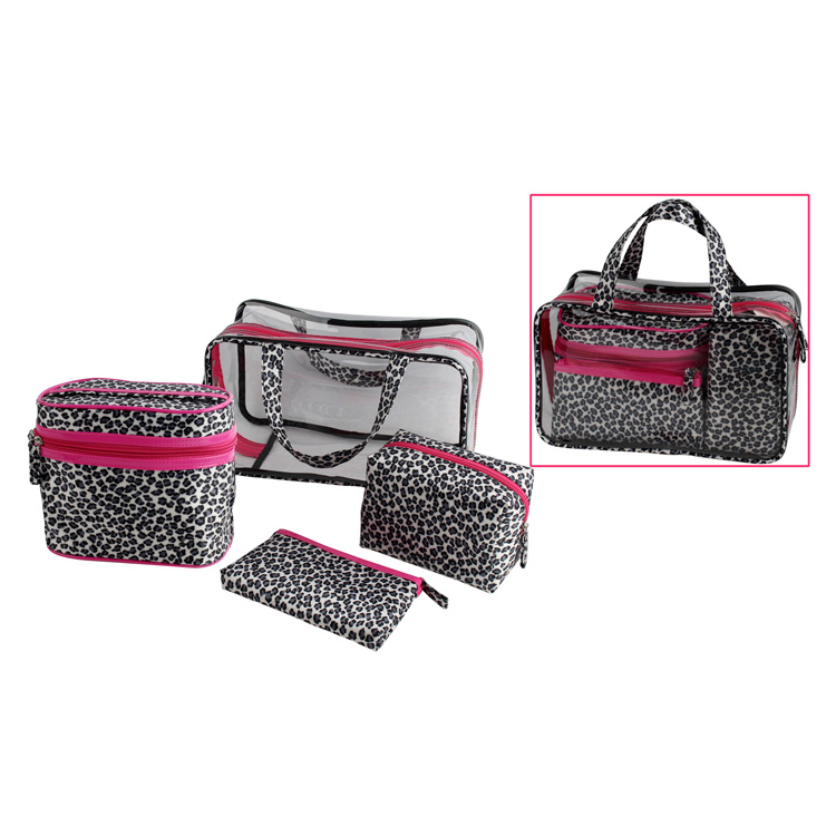 Toprank Custom Wholesale Fashional 4PCS Clear PVC Travel Cosmetic Bag Set Hanging Zipper Makeup Cosmetic Bag Set