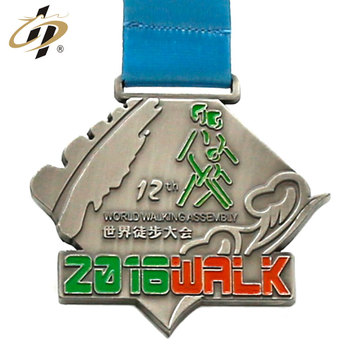Die cut bespoke Irregular zamak metal walking medals in sublimation