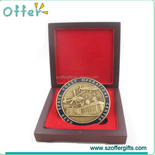 OEM Custom Enamel Antique Gold Challenge Coin With Wood Box