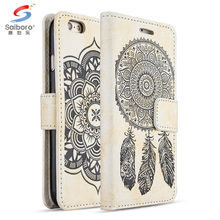 Embossed funny pattern leather & tpu phone case for iphone 7 7s with built in credit card slot