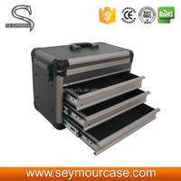 Professional Aluminum Frame Tool Case with Lock and Drawers