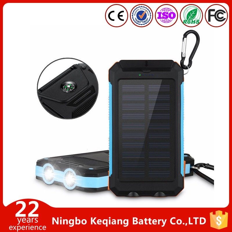 Solar Power Bank 10000mAh External Backup Battery Pack Dual USB Solar Panel Charger with 2LED Light Carabiner