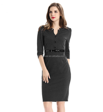 High-end Pencil <strong>Dress</strong> Belt Embellished Women's Straight <strong>Dress</strong> For Office