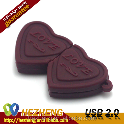 Heart Chocolate shape USB Valentine's day gifts Food USB pen drive 8GB OEM Customized Logo Free Samples