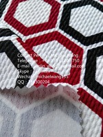 Jishengxiang Shaoxing knitted poly lycra jacquard bubble design blue white striped jersey fabric