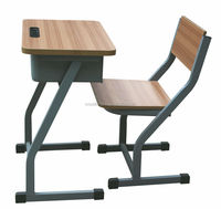New classroom single desk attach chair/Used school wooden furniture DX48+KZ14