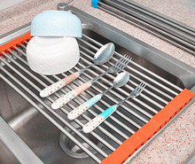 Stainless steel kitchen sink folding roller drainer tray roll mat Rack,kitchen sink folding roller drainer tray roll mat