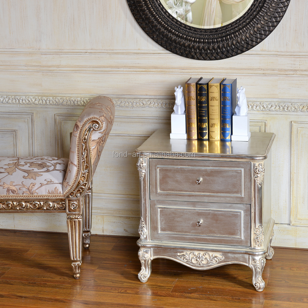 C272 European Style Silver Leaf or gold leaf Antique Night Stand