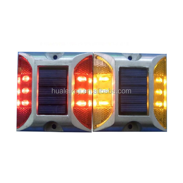 high bright Solar spike aluminum LED traffic lights double reflective road signs, Energy saving, environmental protection