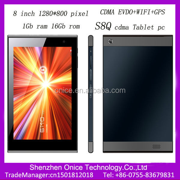 8 inch 1280*800 pixel cdma 800mhz evdo tablet S8Q tablet android evdo Qualcomm MSM8625Q dual core 16Gb rom tablet phones cdma