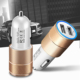 US UK Amazon Best Selling OEM Logo Led Metal Car Charger 5V 2.1A for Iphone 8 X Android