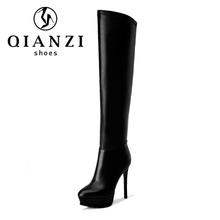 C033 Factory price thigh high boots leather women sexy stiletto heel