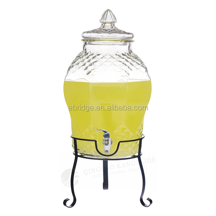 6L Glass Beverage Drinking Dispenser Wine Making Fermentation Jar with Iron Stand