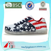 wholesale USA flag best quality low top adult man LED light up sneaker shoes