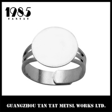 Silver Plated Adjustable Ring Base With 16 Mm Glue on Pad Ring Components
