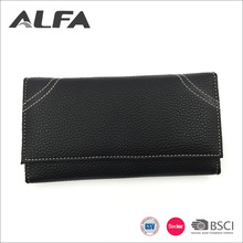 Alfa 2018 New Products Button Closure Tri-fold PU Leather Lady Wallet Money Bag