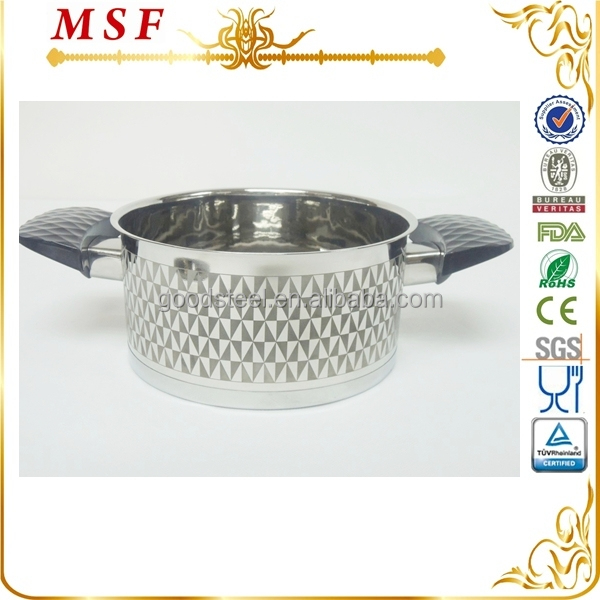 MSF Promotion SS cook ware with diamond silicone painting handle