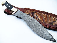 Custom Made Full Tang Damascus Steel Kukri Knife Buffalo horn handle with brass inlay