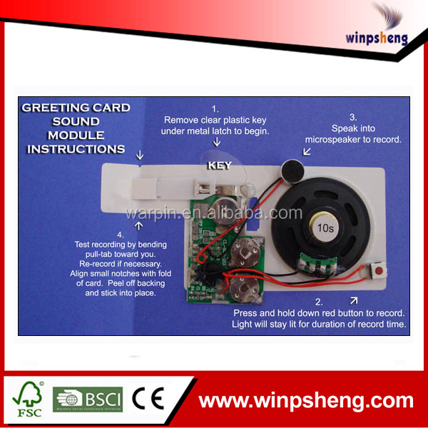 Greeting card voice recorder chip recordable sound chips