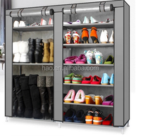 double door 12 tier Good selling chrome expandable shoe rack